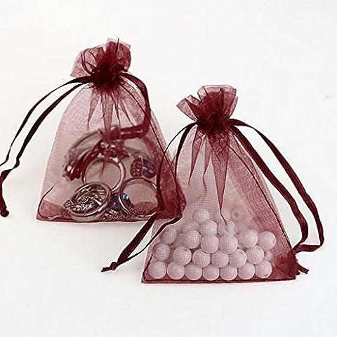 Generic 100pcs Organza Geschenkbeutel-Säckchen Taschen 7 x 9cm Ver.f - Weinrot, 7 x 9cm