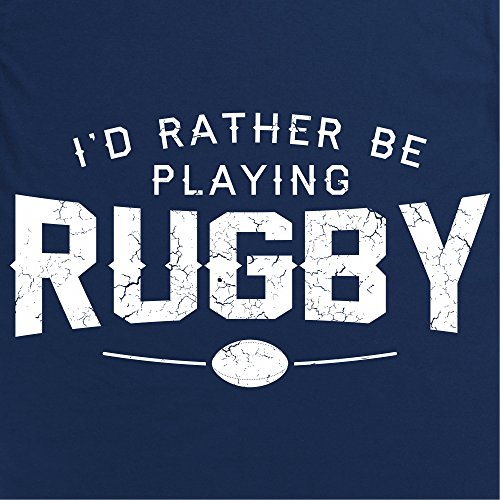 Rather Be Playing Rugby Slogan T-Shirt, Herren Dunkelblau
