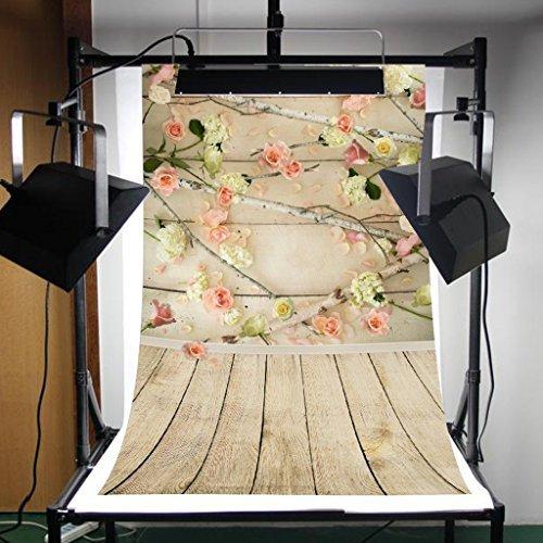 Florata Vinyl-Hintergrund, 91,4 x 152,4 cm, rosa Blumenwand und Holzboden, faltbar, Hintergrund für Fotokabine, für Kinder