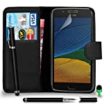 Motorola Moto G5 Case Premium Leather BLACK Wallet Flip Case Cover Pouch with 2 IN 1 Ball Pen Touch Stylus Green Cap Screen Protector & Polishing Cloth