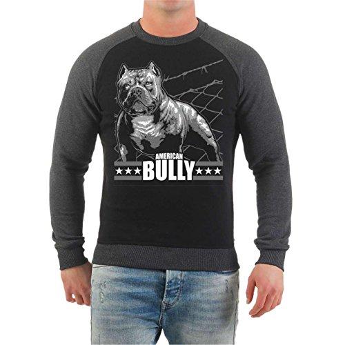 Männer und Herren Pullover American Bully Machine Größe S - 10XL Schwarz/Dunkelgrau