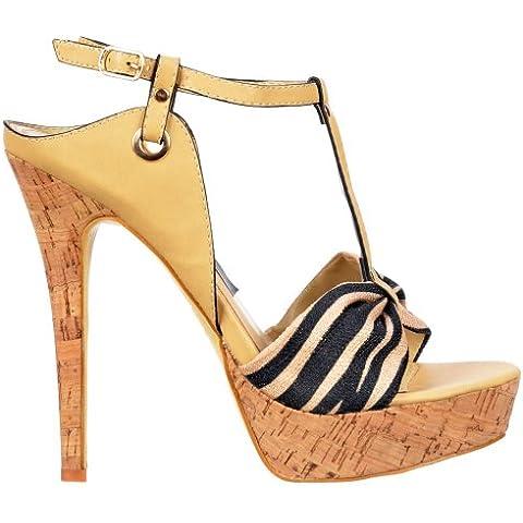 Onlineshoe Ladies T Bar Cork Platform Stiletto Sandal - Tela Detalle Toe - Beige