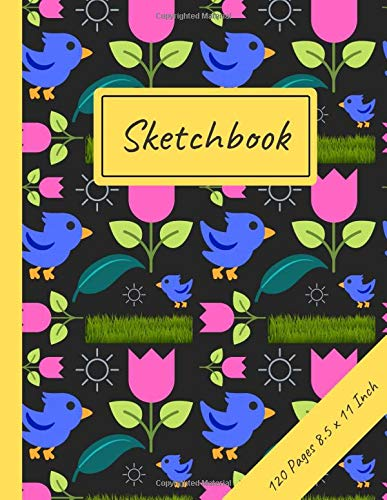 Sketchbook: Pink Tulip Pattern: 120 Page Large Blank Journal for Drawing, Doodling and Sketching - 8.5