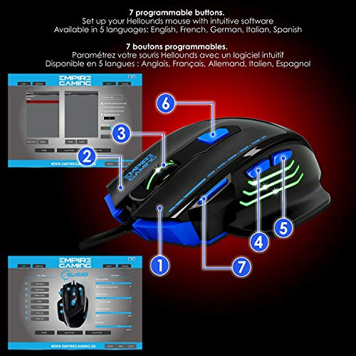 EMPIRE GAMING - Nouveau - Souris gamer filaire Hellhounds gamers - 7200 DPI - 7 boutons programmables avec Logiciel - Rétro-éclairage RGB - ... 9