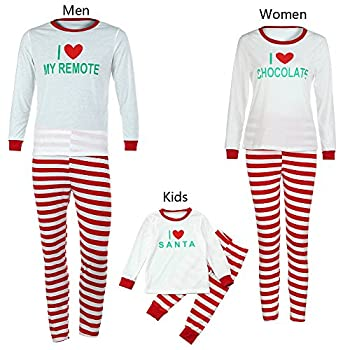 Weant Family Matching Christmas Pajamas Set Father Mother Kids Toddler Christmas Clothes Sets Letter Printed Tops+ Santa Striped Pants (M, Mom) 1