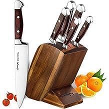Emojoy Messerblock Set, Messerset, Kochmesser aus Edelstahl mit Ergonomischer Holzgriff, Profi Küche, Feststehend, Extra Scharf, Bestückt, 6-tlg