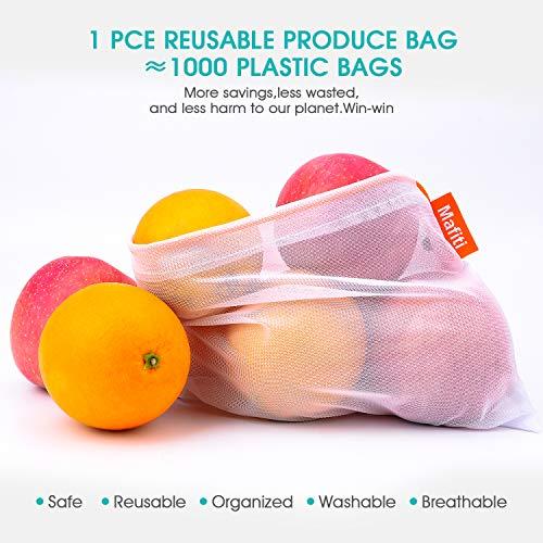 Mafiti Bolsas Compra Reutilizables Ecológicas Bolsa de Malla para Almacenamiento Fruta Verduras Juguetes Lavable y Transpirable,  18 Set (6L+6M+6S)