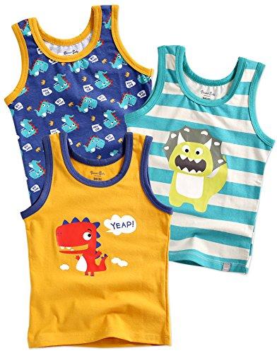 Vaenait baby 86-122 Jungen Kinder Unterhemd 3-Packung Top Undershirts Set Dinoland Yellow S