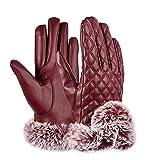 Huwai Moda Damen Leder Handschuhe Touchscreen Winter Plus Kaschmir Warm halten Reiten Gloves, red