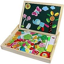 Pizarra Magnética Infantil Rompecabezas de Madera Doble Cara Tablero de Dibujo Magnetico Animales Juguete para Niños 3 Años +