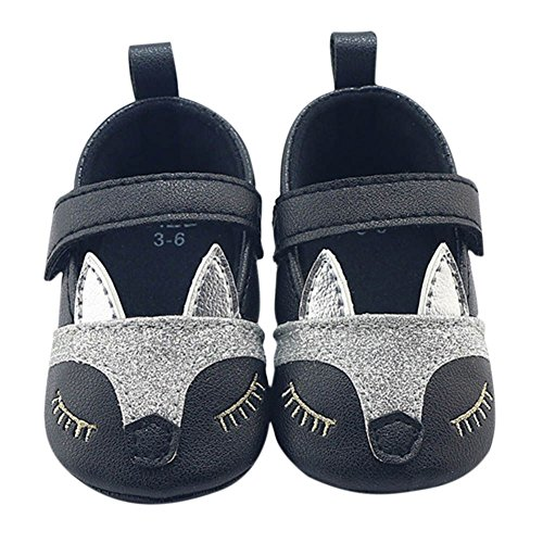 MiyaSudy Neugeborenen Baby Mädchen Fuchs Pattern Weiche Sohle Prinzessin Schuhe Erste Wanderer Mokassins 0-18 Monate Schwarz