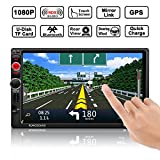 Auto GPS Navigation, OCDAY Auto Radio Stereo Receiver MP5 Spieler Doppel din 7 ' Zoll HD Touchscreen mit Bluetooth GPS Navigationssystem Free 8GB Map...