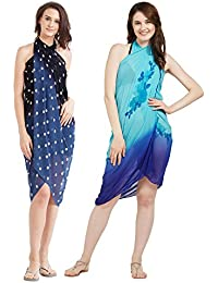 SOURBH Women's Faux Georgette Beach Wear Wrap Set of 2 Sarong Shibori & Natural Printed Pareo Swimsuit Cover up (S122A_with Color Options)