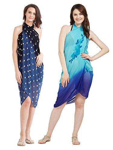 Frauen Faux Georgette Beach Wear Wrap Combo von 2 Sarong Polka Dot & Floral Gedruckt Pareo Badeanzug Vertuschen (S143_Blue, Black & Sky Blue) - Blue Sky Swimwear Wrap
