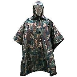 ZUOAO Multifuncional Militar Camuflaje Poncho de Lluvia Impermeable al aire libre, Portátil, Ligero y Plegable, Ropa Impermeable para Camping, Senderismo, Caza y Equitación