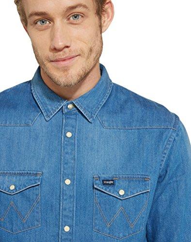 Wrangler Herren Freizeithemd Western Shirt Blau (Dark Indigo 1E)