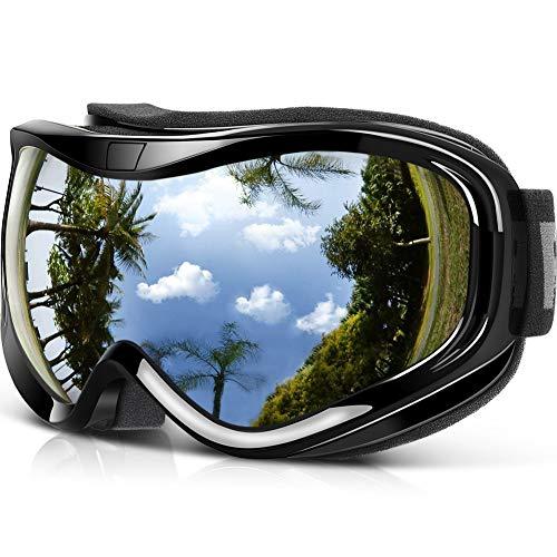 Findway Gafas de Esquí,Máscara Gafas Esqui Snowboard Nieve Espejo para Hombre Mujer Adultos Juventud Jóvenes, Anti Niebla Gafas de Esquiar OTG,Protección UV Plata Esférica Lentes
