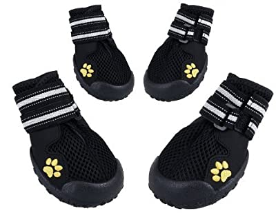 Royalcare Dog Shoes Protective Boots Mesh Breathable Pet Shoes with Wear-resistant and Rugged Anti-Slip Sole Suitable for Medium to Large Dogs (Black) by Royalcare