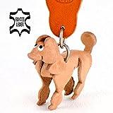 Monkimau Pudel Leder Schlüssel-anhänger Deko-Figur Charm-s 5cm Natur Großpudel braun Leder-anhänger Hunde-deko Pudel-schmuck Kinder Mädchen Geschenk-e