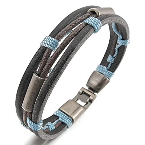 Men's 316L Stainless Steel Clasp Tribal Braided Hemp Rope Leather Cord Bracelets