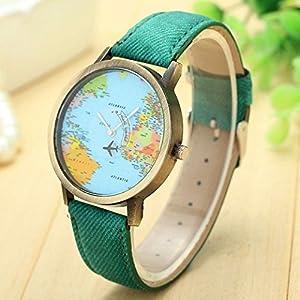 Reloj para Mujer,Feixiang Viaje Global por AvióN Mapa Mujeres Vestido Reloj Banda De Tela De Mezclilla Ginebra Relojes