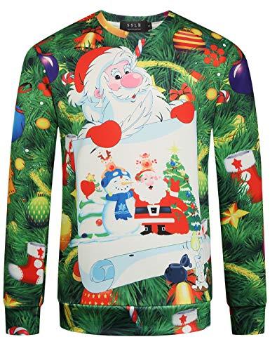 SSLR Family Funny Santa Claus Sweatshirt mit Rundhalsausschnitt - Grün - XXL - Kinder-erwachsenen-sweatshirt Mit Rundhalsausschnitt