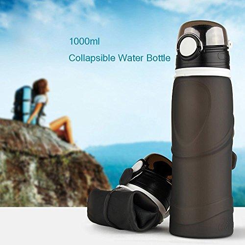 Zusammenklappbare Trinkwasser-Flasche groß Kapazität 750ml oder 1000ml, BPA-frei Faltbare Trinkflasche für Outdoor Sport Reise Camping Wandern Laufen Yoga. S 1L_GREY