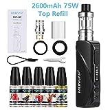 Cigarette Electronique Kit Complet 75W, MONVAP M75 2600mAh avec 5x10ml E Liquide, Top Refill Atomiseur 0.3ohm 2ml, Intégrée Batterie, Complet Vape Pen Set sans Nicotine ni Tabac