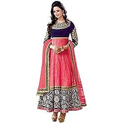 Woman style Women's Women's Georgette Semi Stitched Anarkali Suit (WS_0024021_Free Size_Pink)