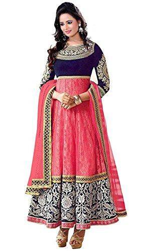 Woman style Women\'s Women\'s Georgette Semi Stitched Anarkali Suit (WS_0024021_Free Size_Pink)