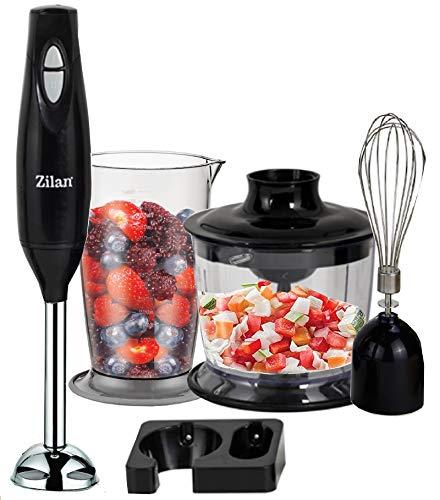 3in1 Stabmixer Set | Handmixer | Universal Küchenmaschine | Pürierstab | Edelstahl Schneebesen | Multi Zerkleinerer | Rührbesenaufsatz | 2 Leistungsstufen | Hitzebeständig | 800ml Mixbehälter