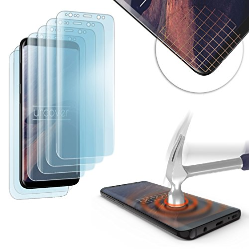 Urcover® Kompatibel mit Samsung Galaxy S8 gerundete TPU Schutz-Folie | 4X Front Folie 2X Back Folie| Komplett Display Handy-Schutz | Full Screen-Protector | transparent | Edge to Edge