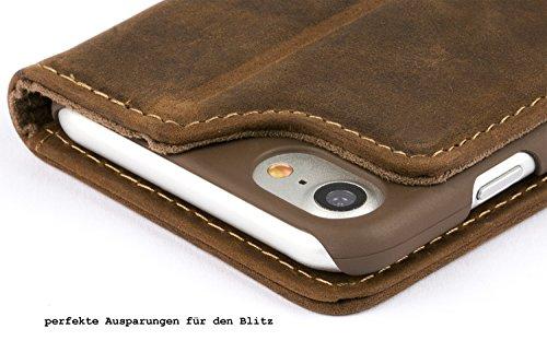 "Blumax iPhone 8 iphone 7 Flip-case Ledertasche Echtleder Case Handyhülle 4,7"" Zoll ohne Magnet Farbe Classic-Braun Bookstyle Vintage Antik Dunkelbraun"