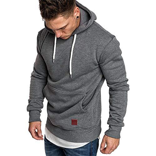 Herren Sweatshirt Kapuzenpullover Pullover Hoodie Hoher Kapuzenansatz Känguru-Tasche Gerippte Ärmel und Abschlussbündchen Sweatjacke Casual Streetwear Basic Style, Dunkelgrau, XL -