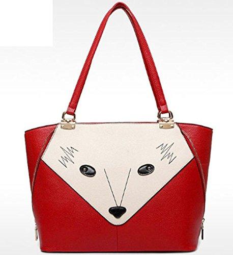 Frauen PU Leder Vier-teiliges Set Serie Tasche Fuchs Muster Schulter Umhängetasche Damen Große Kapazität Handtasche Red