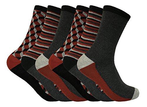 Tom Franks - 6 pack calcetines hombre modernos algodon colores estampados en 6 estilos (39-45 eur, MTF01)