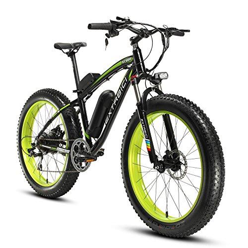 Cyrusher Extrbici XF660 Verde Negro 48V 500 vatios Bicicleta eléctrica para hombre de la bici verde de la bicicleta de la velocidad 7 de las bicicletas eléctricas del verde