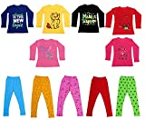 IndiWeaves Girls Combo Pack(Pack of 6 Cotton Full Sleeves Printed T-Shirts and 5 Cotton Printed Leggings)