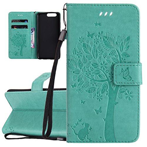 ISAKEN Compatibile con Huawei P10 Plus Custodia, Libro Flip Cover Portafoglio Wallet Case Albero Design in Pelle PU Protezione Caso con Supporto di Stand/Carte Slot/Chiusura - Verde