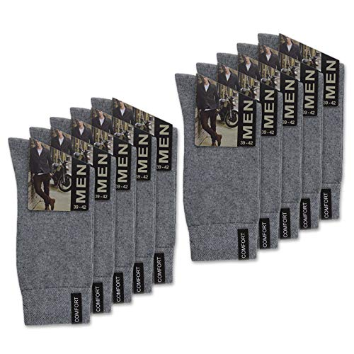 sockenkauf24 10 Paar Herren Socken mit Komfort-Bund aus Baumwolle in Schwarz, Jeans, Grau oder Anthrazit - 15922 (43-46, 10 Paar | Grau) -
