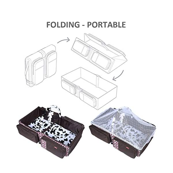 Baby Changing Bags 3-in-1 Universal Foldable Baby Travel Bed Portable Bassinet Crib Diaper Bag 0-12 Months, Brown WYTbaby ✿ BABY CHANGING BAG: This folding nappy bag not only can be a bag for putting baby diapers and baby daily stuffs but also can be a travel cot. It's pretty convenient and portable. Foldable is its special features. Crib is for your child to lay down and get some proper sleep during nap time. To have a padded space to play while staying safe and germ-free. It's really recommended for travel. ✿ STROLLER STORAGE BAG: Our multi-purpose diaper bag will neatly stash away all of your babies important stuffs with zippers for food, bottles, wipes and more. ✿ PRACTICAL HANDBAG: This versatile carry bag with adjustable and detachable shoulder straps and stroller straps. You can buckle it up to pram and pushchair, on the back of a carseat or on a shopping trolley. 6