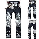 TAOtTAO Skinny-Biker-Jeans für Herren mit Destroyed-Effekten Lässige Lochfalten gestreifte dünne Jeanshose (A, 42)