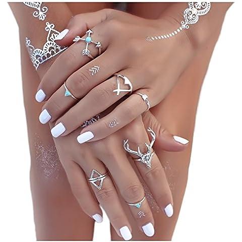 Shirley Vintage Plata Flecha Cabeza de Ciervo Turquesa conjunta uñas de nudillos Anillo Midi Juego de 7anillos