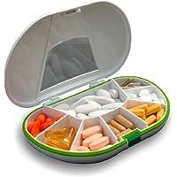 fairvital - Vitamin Caddy - Pastillero con 7 compartimentos y sellado - 15 x 10 x 3 cm