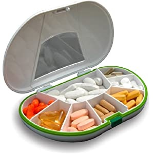 Vitamin Caddy Tablettenbox (15 x 10 x 3) cm, Tablettendose, 7 Fächer und Dichtung