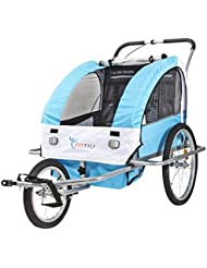 Fitfiu BI-TR-B-Remolque de vélo Bleu/Blanc