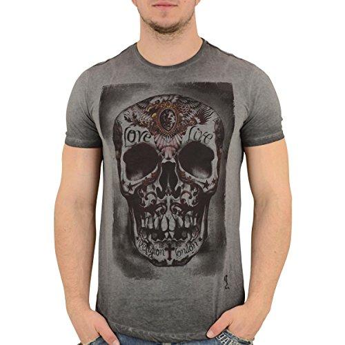 Religion Clothing T-Shirt Männer Tribes Skull Vintage Grau - XXL