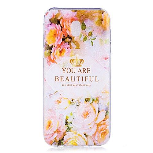 Samsung Galaxy J7 2017 Hülle Case, Cozy Hut Liquid Crystal Ultra Dünn Crystal Clear Transparent Handyhülle Cover Soft Premium-TPU Durchsichtige Schutzhülle Backcover Slimcase für Samsung Galaxy J7 2017 - Rosen