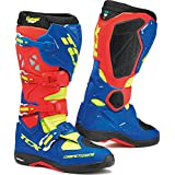 9661 - TCX Comp Evo Michelin Motocross Boots 39 Red Bright Blue Yellow Fluo (UK 6)