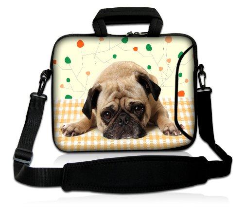 Luxburg® Design Laptoptasche Notebooktasche Sleeve mit Schultergurt und Fach für 17,3 Zoll, Motiv: Mops